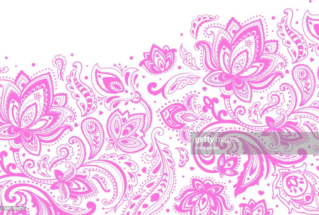 Purple paisley pattern on a white background