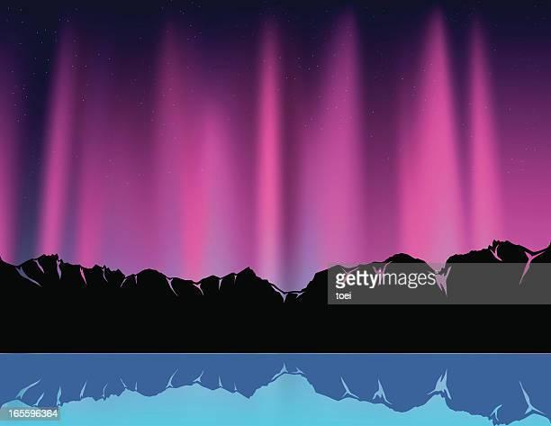 purple polar light - aurora borealis stock illustrations