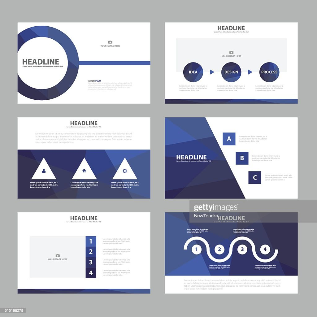 Purple presentation templates Infographic elements flat design set