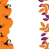Purple pumpkins on orange border background card template