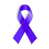 Purple ribbon as symbol of cancer awareness, drug overdose, domestic