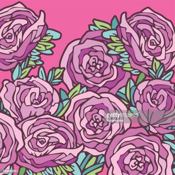 illustrations, cliparts, dessins animés et icônes de violet roses - pivoine