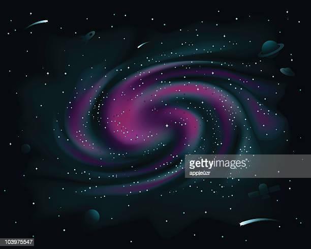 ilustraciones, imágenes clip art, dibujos animados e iconos de stock de galaxia espiral morado - galaxiaespiral