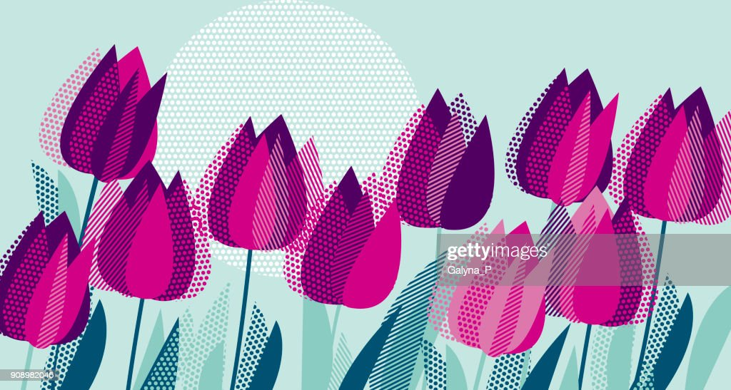 Purple tulip flowers with dot geometry texture pattern. Vector illustration for surface design, background, cord, invitation, poster.