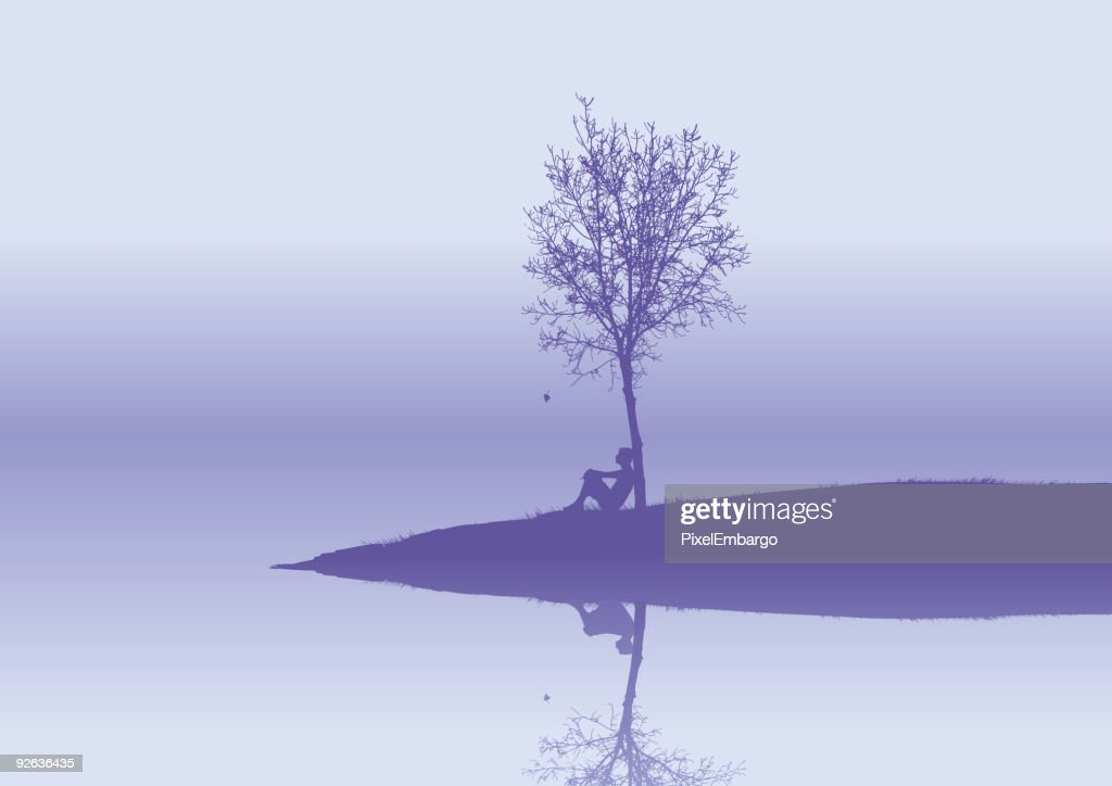 Purple vector that shows a lonely person in a island
