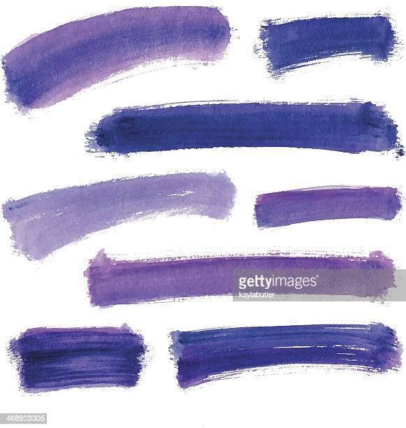 purple water color stroke set - purple stock illustrations
