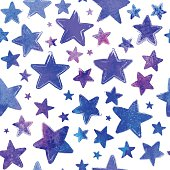 Purple watercolor painted stars vector seamless pattern