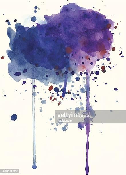 purple watercolor splash - wood stain stock illustrations, clip art, cartoons, & icons