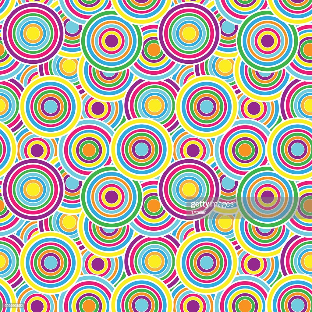 Purple, yellow and green circles seamless vector pattern.