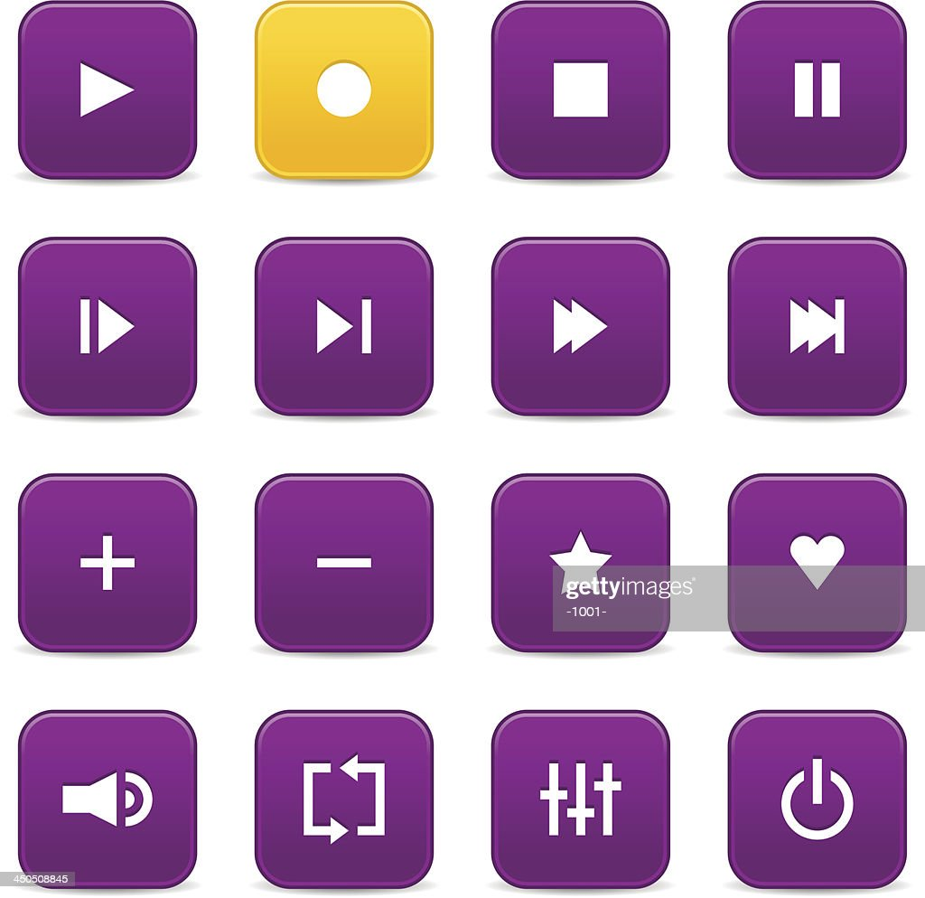 Purple yellow media player audio video icon rounded square button