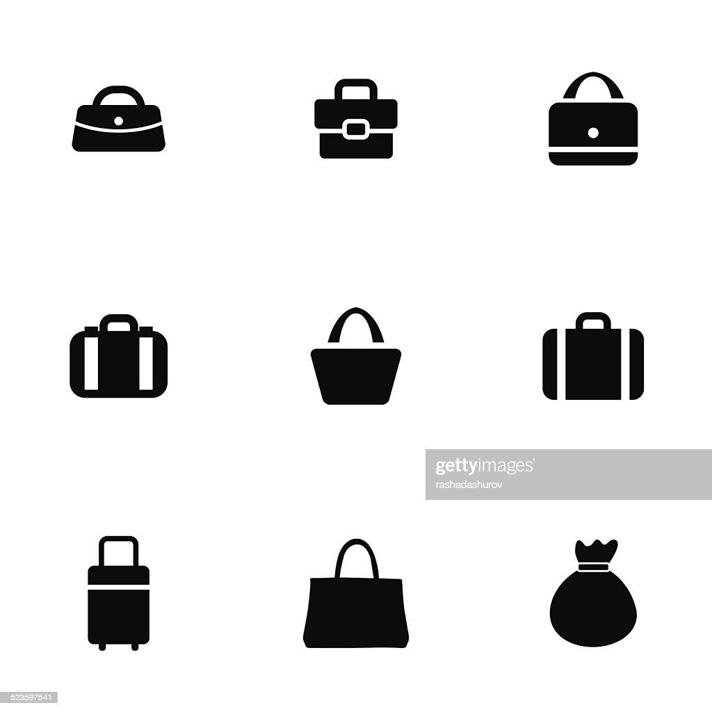 purse bag icons set