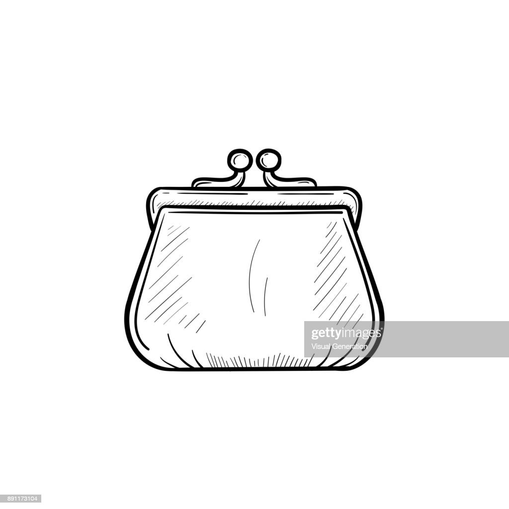 Purse hand drawn sketch icon
