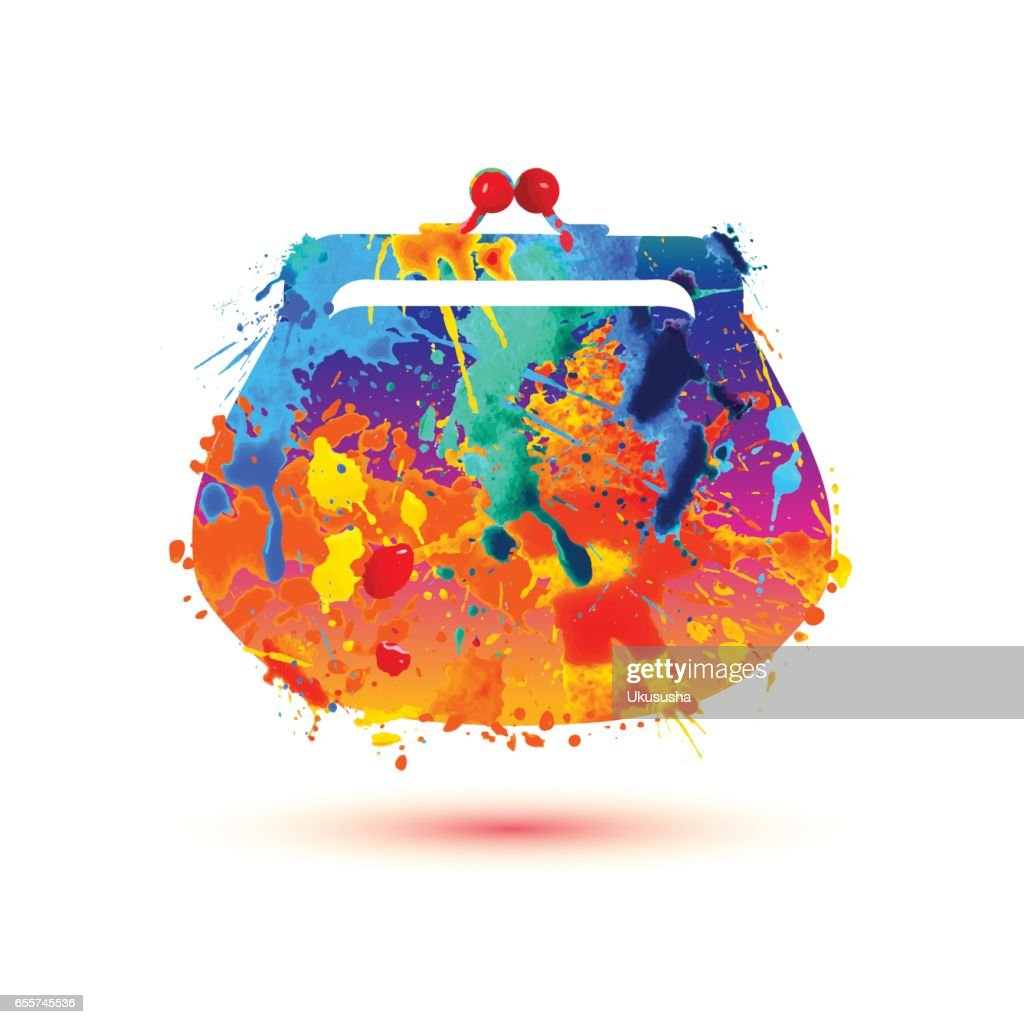 Purse (handbag) icon. Watercolor splash paint