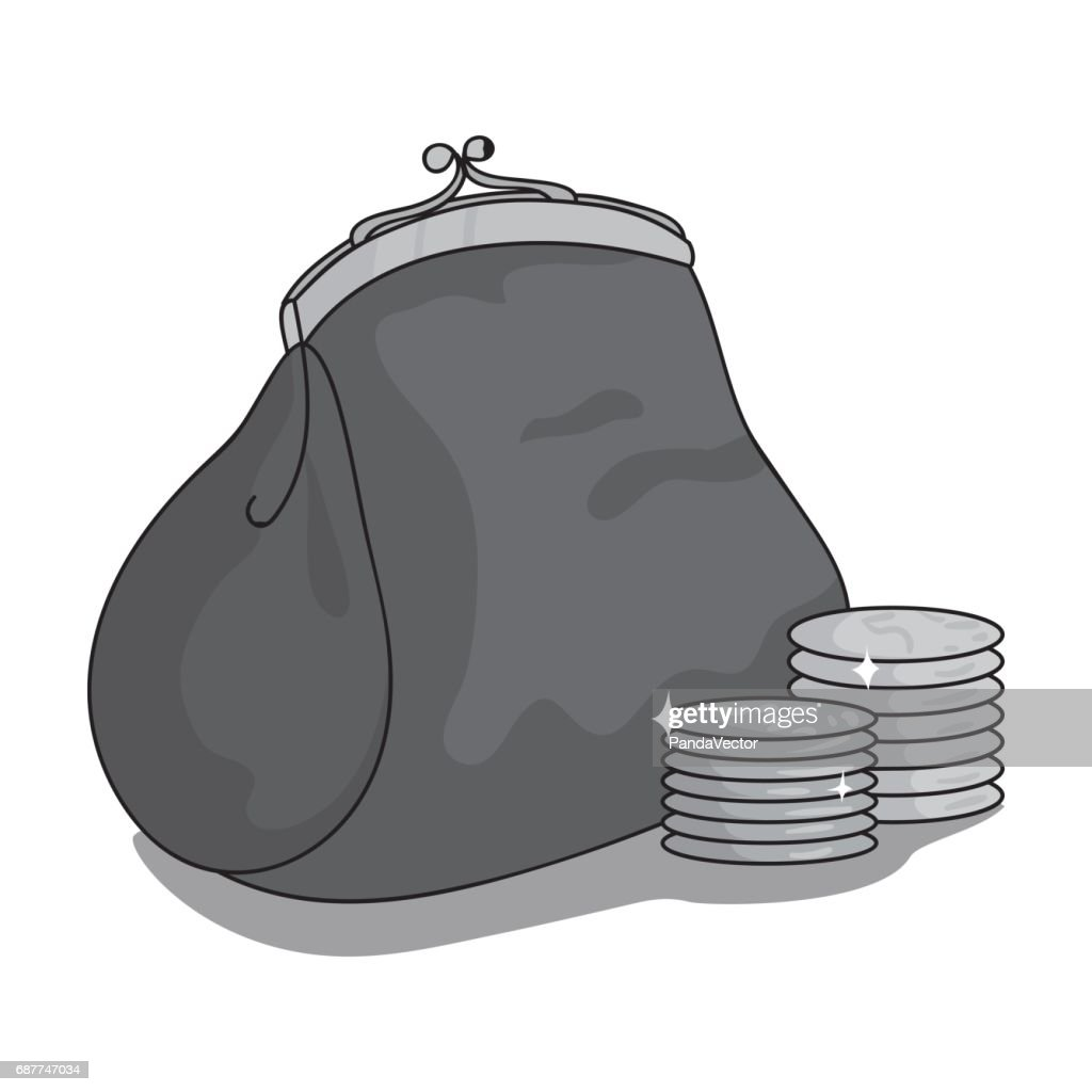 Purse with coins icon in monochrome style isolated on white background. Supermarket symbol stock vector illustration.