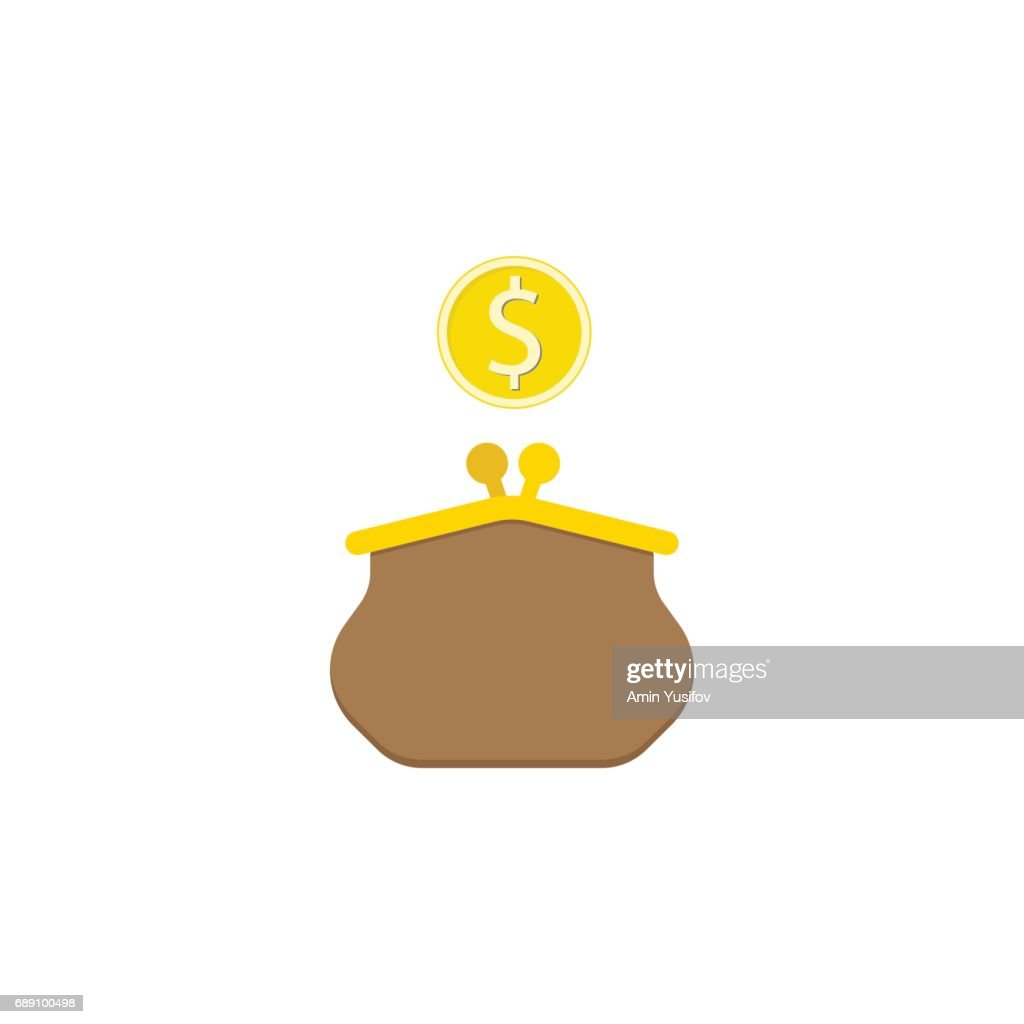 Purse with dollar coin flat icon finance business