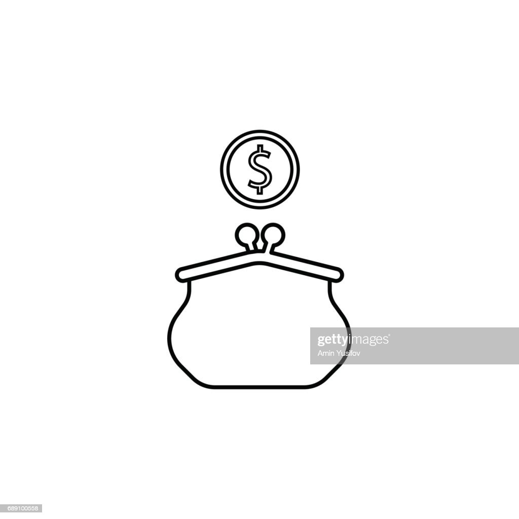 Purse with dollar coin line icon, finance business