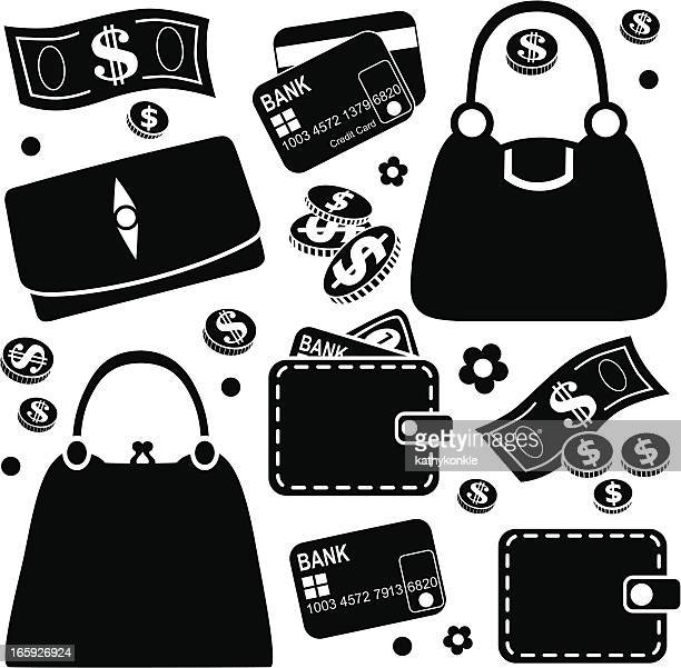 purses and wallets icons - money to burn stock illustrations, clip art, cartoons, & icons