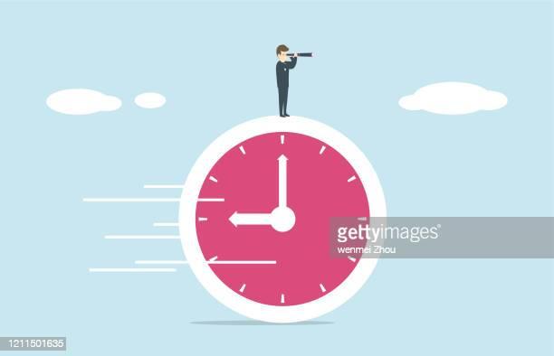 ilustraciones, imágenes clip art, dibujos animados e iconos de stock de persecución – concepto - reloj de pared