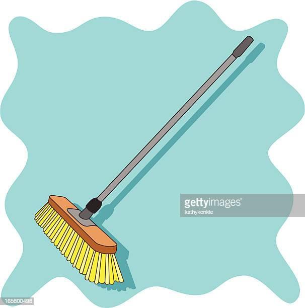 push broom - broom stock illustrations, clip art, cartoons, & icons