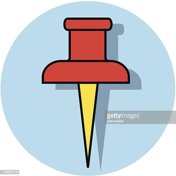 illustrations, cliparts, dessins animés et icônes de push pin icône - pointu