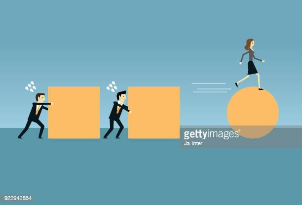 pushing a sphere & business - drive ball sports stock illustrations, clip art, cartoons, & icons