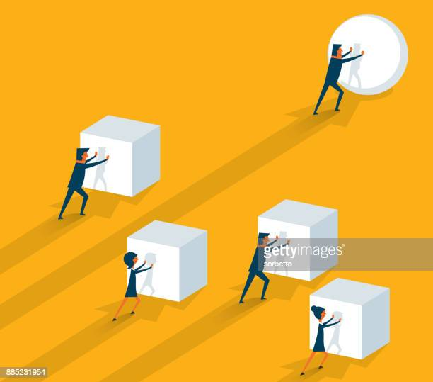 pushing a sphere - businessman - drive ball sports stock illustrations, clip art, cartoons, & icons