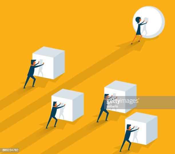 pushing a sphere - businesswoman - drive ball sports stock illustrations, clip art, cartoons, & icons