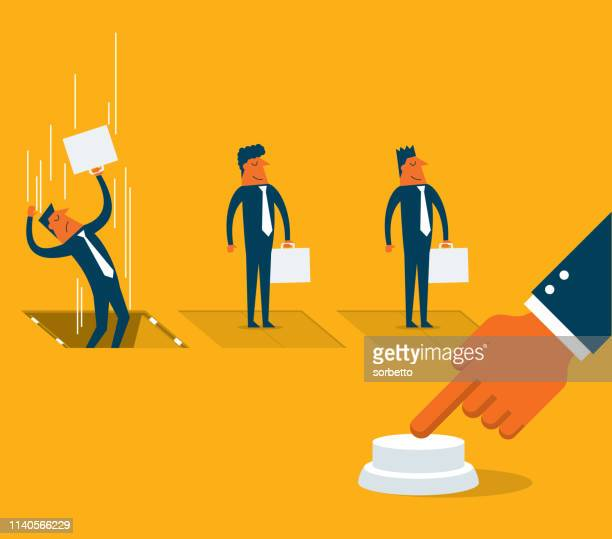 pushing fired button - businessman - downsizing unemployment stock illustrations