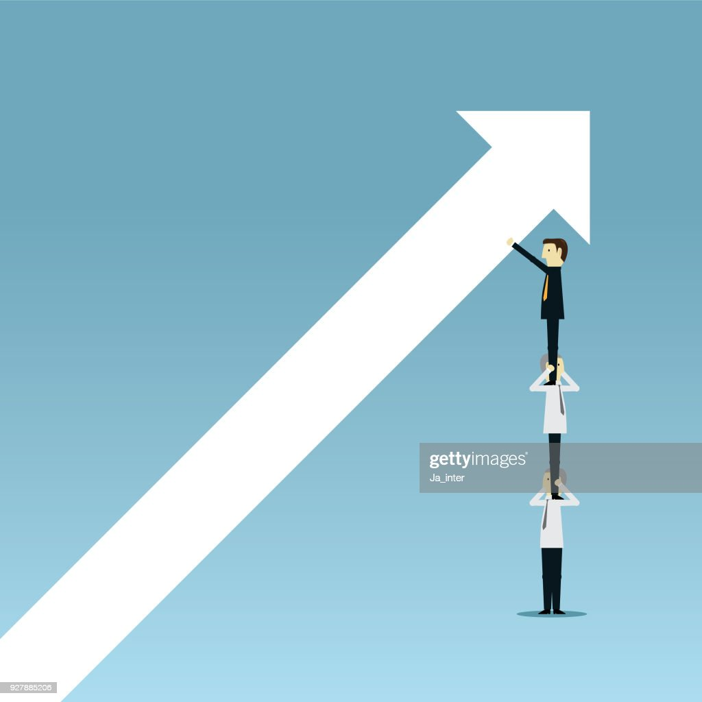 Pushing graph up : stock illustration