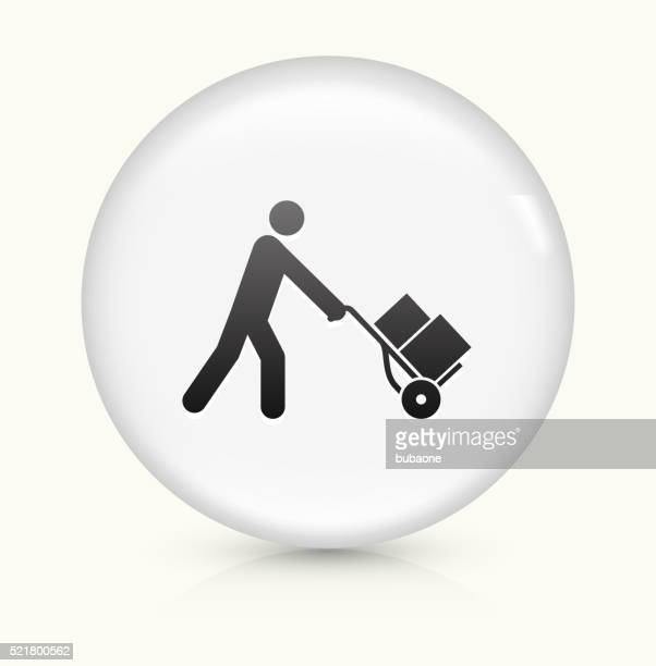 Pushing Luggage Cart icon on white round vector button