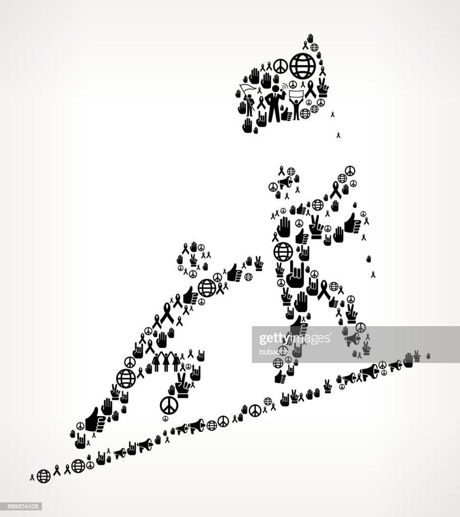 Pushing to Success  Protest and Civil Rights Vector Icon Background : Stock Illustration
