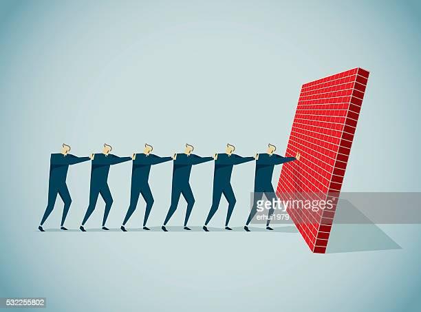 pushing - surrounding wall stock illustrations