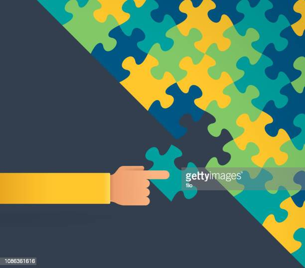 ilustraciones, imágenes clip art, dibujos animados e iconos de stock de armando un rompecabezas - autismo