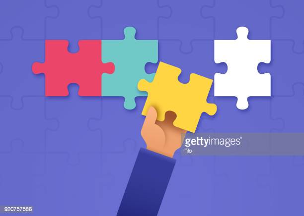putting together a puzzle - solutions stock illustrations