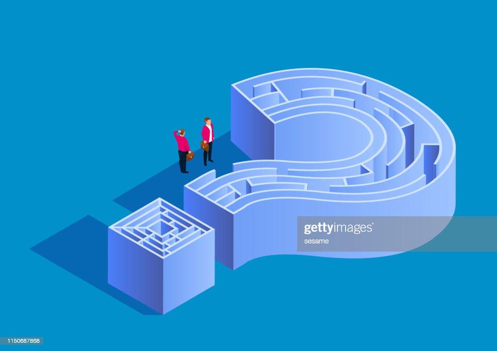 Puzzle e labirinto, due uomini d'affari in piedi davanti alla porta labirinto del punto interrogativo : Illustrazione stock