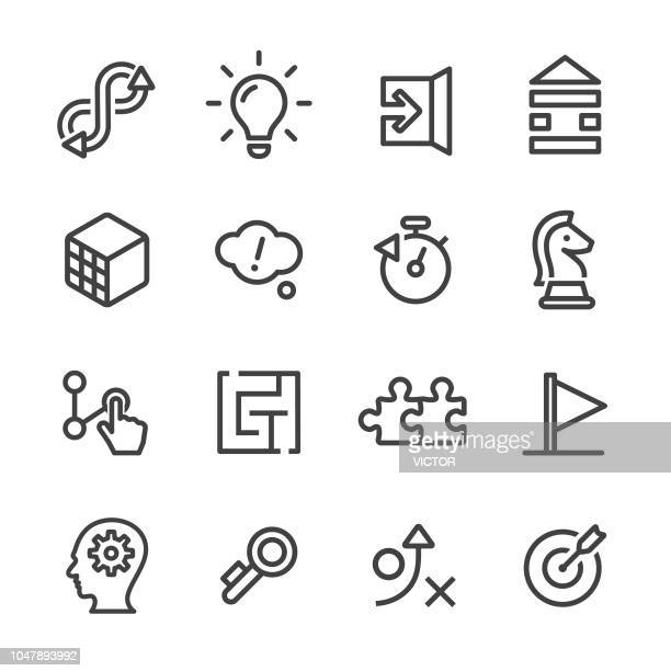 puzzle and solution icons - line series - building block stock illustrations