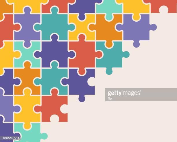 illustrazioni stock, clip art, cartoni animati e icone di tendenza di modello di sfondo puzzle - puzzle