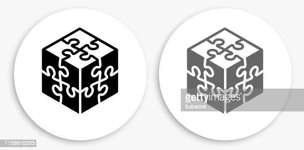 パズル 黒と白のラウンド アイコン - 電動糸のこ点のイラスト素材/クリップアート素材/マンガ素材/アイコン素材
