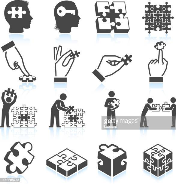 puzzle black & white royalty free vector icon set - whole stock illustrations, clip art, cartoons, & icons