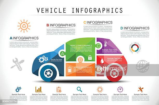 puzzle car infographics - car stock illustrations, clip art, cartoons, & icons