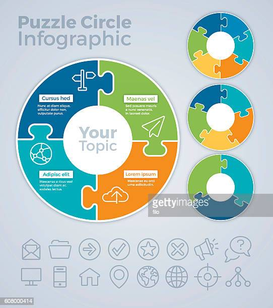puzzle circle infographic concept - three objects stock illustrations