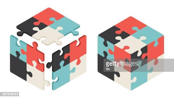 ilustraciones, imágenes clip art, dibujos animados e iconos de stock de cubo de rubik - autismo