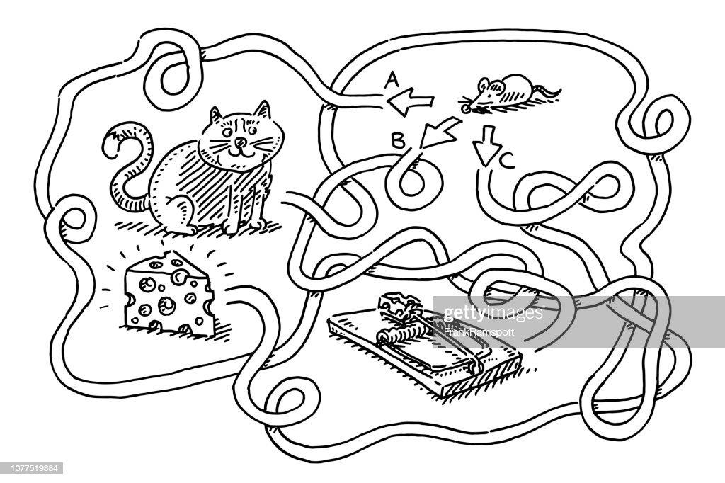 Puzzle für Kinder Maus Käse Zeichnung zu finden : Vektorgrafik