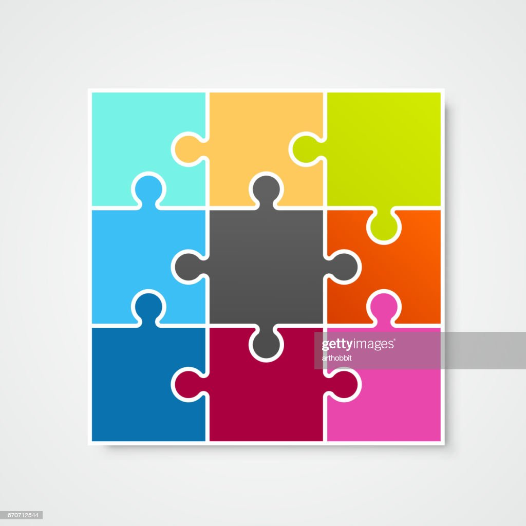 Puzzle frame template, design element, Vector illustration
