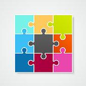 Puzzle frame template, design element, Vector illustration