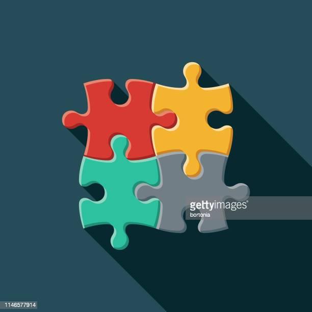 illustrazioni stock, clip art, cartoni animati e icone di tendenza di icona del design piatto del gioco di puzzle - puzzle