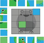 Puzzle game with frog. Mosaic kids activity sheet