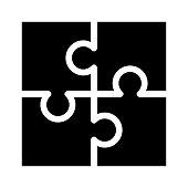 puzzle Glyph Vector Icon