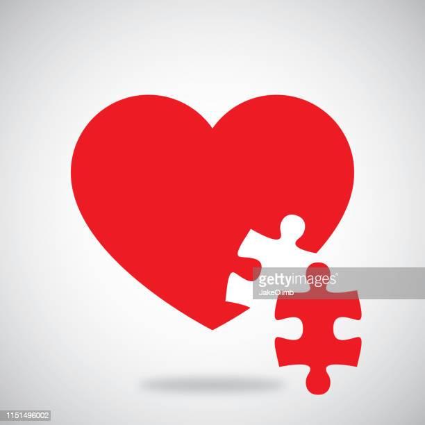 illustrazioni stock, clip art, cartoni animati e icone di tendenza di cuore puzzle - puzzle