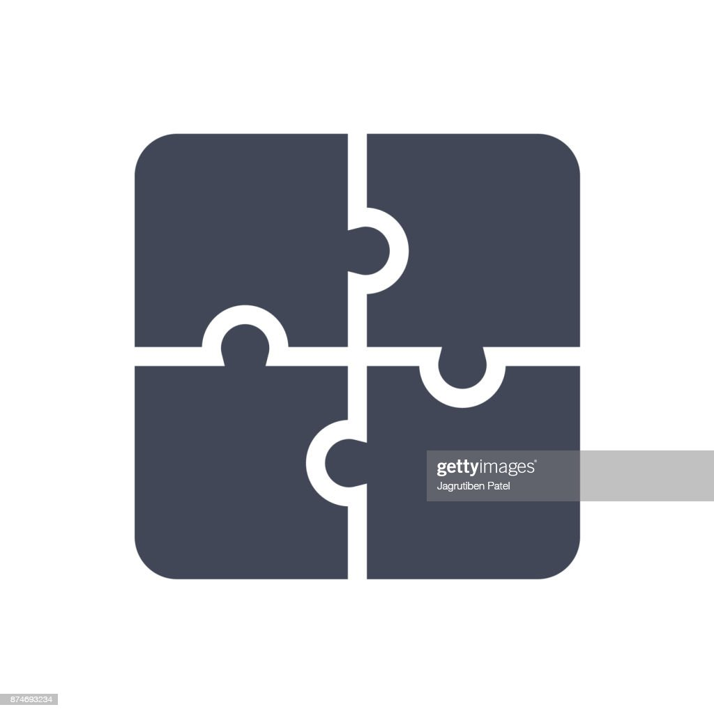 Puzzle icon. Flat vector illustration. Puzzle game sign symbol